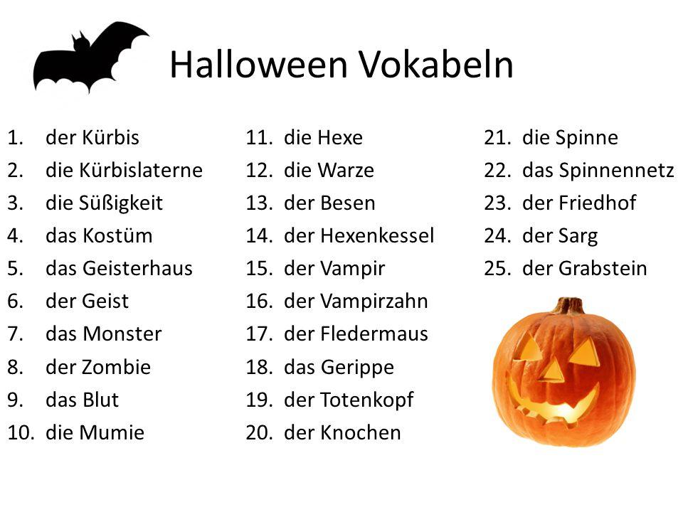 Halloween Vokabeln der Kürbis die Hexe die Spinne die Kürbislaterne