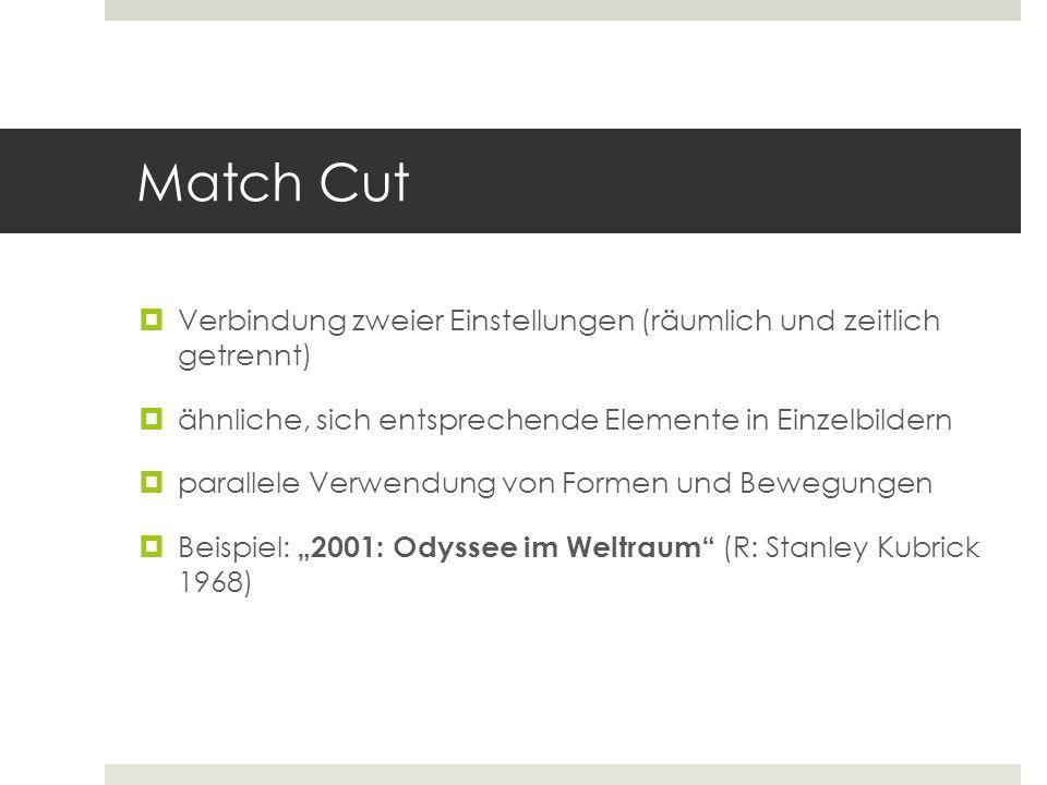 Match Cut Verbindung zweier Einstellungen (räumlich und zeitlich getrennt) ähnliche, sich entsprechende Elemente in Einzelbildern.