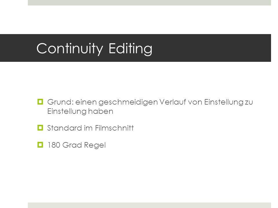 Continuity Editing Grund: einen geschmeidigen Verlauf von Einstellung zu Einstellung haben. Standard im Filmschnitt.