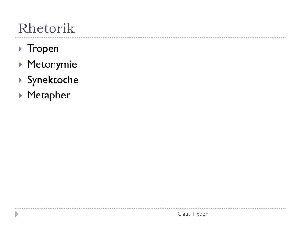 Rhetorik Tropen Metonymie Synektoche Metapher Claus Tieber