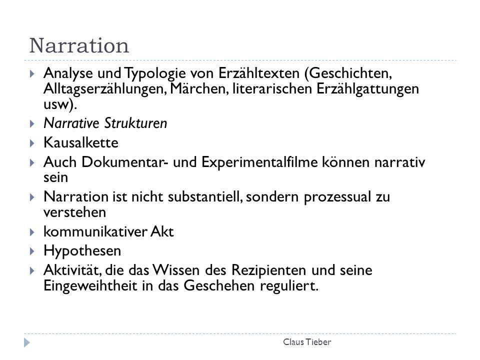 Narration Analyse und Typologie von Erzähltexten (Geschichten, Alltagserzählungen, Märchen, literarischen Erzählgattungen usw).