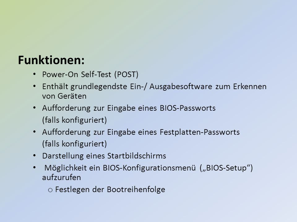 Funktionen: Power-On Self-Test (POST)