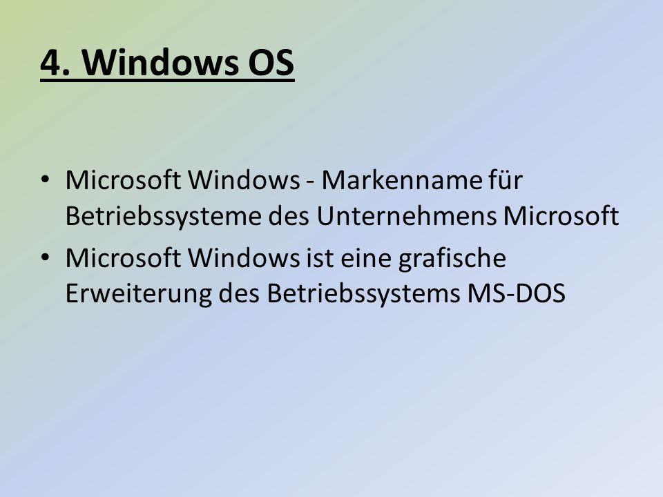4. Windows OS Microsoft Windows - Markenname für Betriebssysteme des Unternehmens Microsoft.
