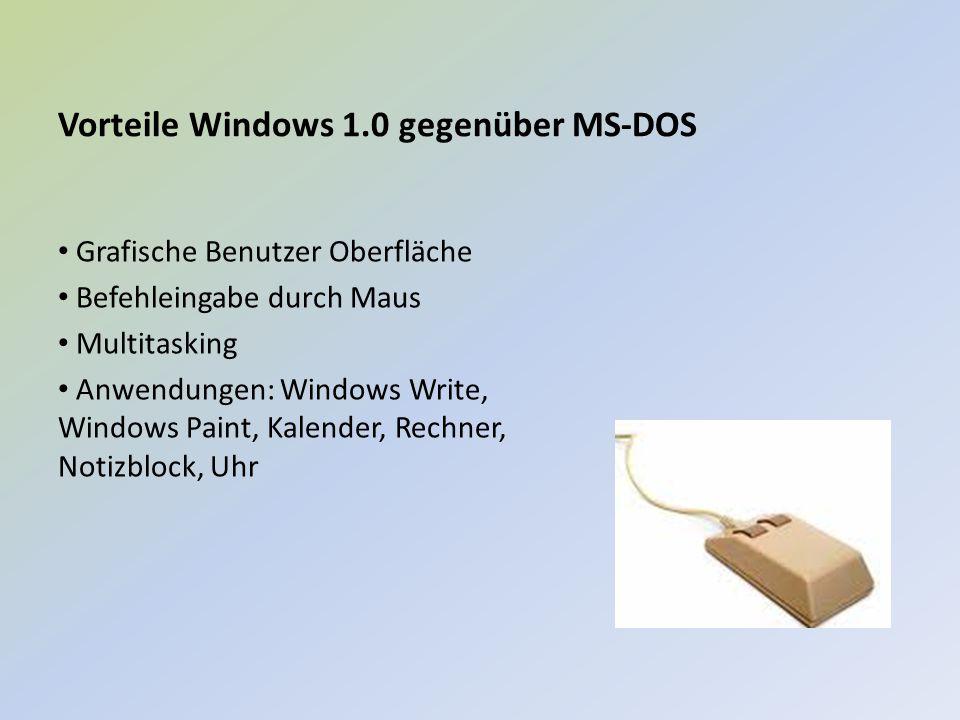 Vorteile Windows 1.0 gegenüber MS-DOS