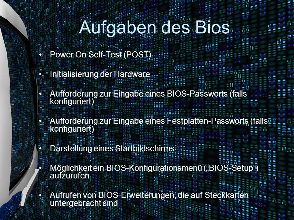 Aufgaben des Bios Power On Self-Test (POST)
