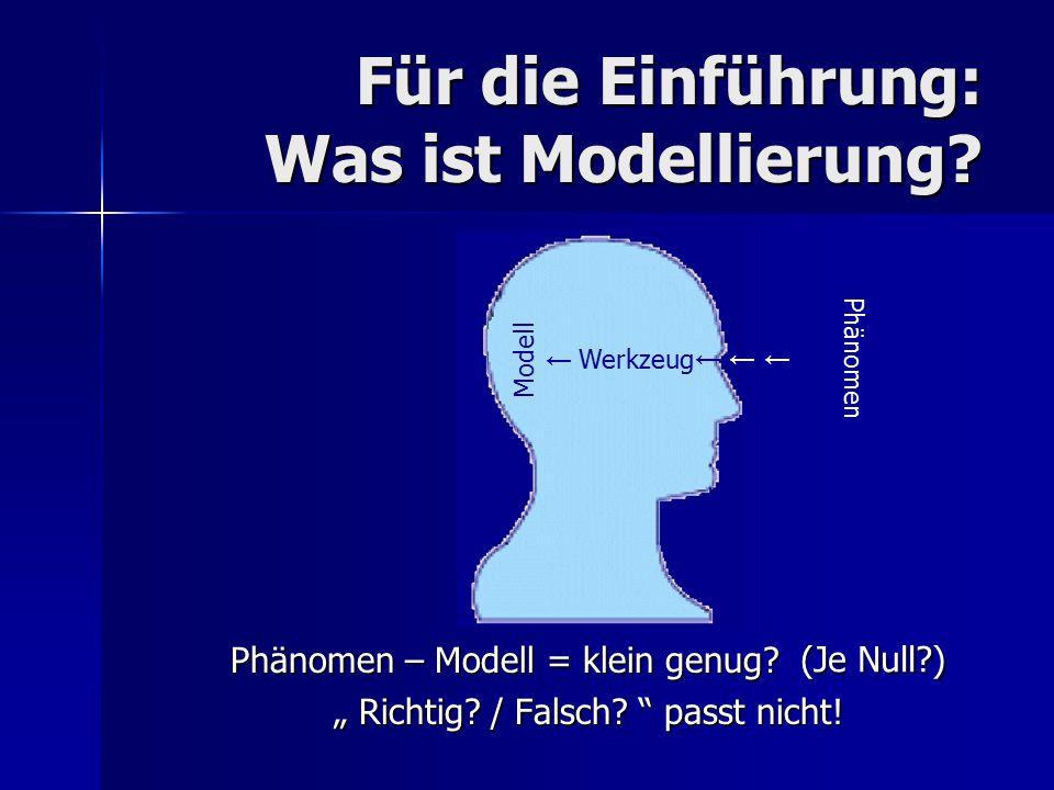 Für die Einführung: Was ist Modellierung