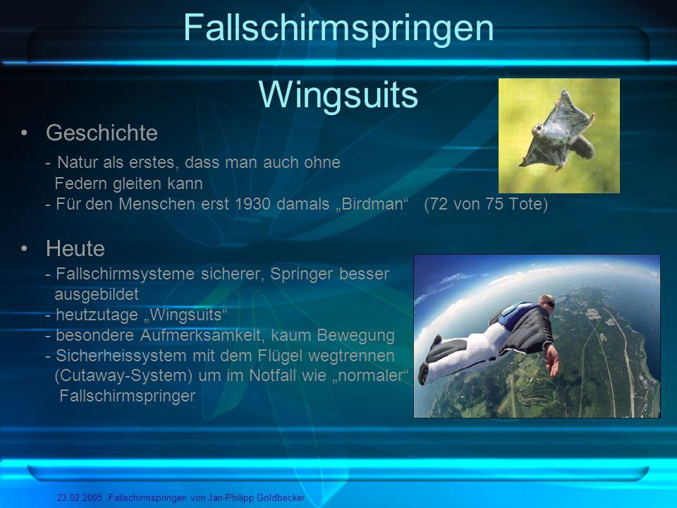 Fallschirmspringen Wingsuits Geschichte