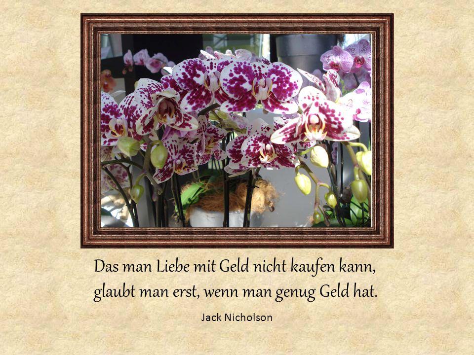 Jack Nicholson Das man Liebe mit Geld nicht kaufen kann, glaubt man erst, wenn man genug Geld hat.