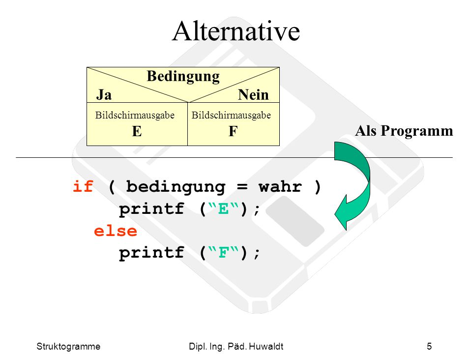 Alternative if ( bedingung = wahr ) printf ( E ); else printf ( F );