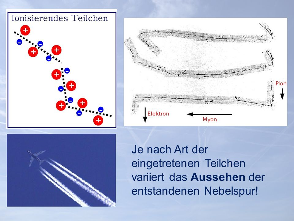 Je nach Art der eingetretenen Teilchen variiert das Aussehen der entstandenen Nebelspur!