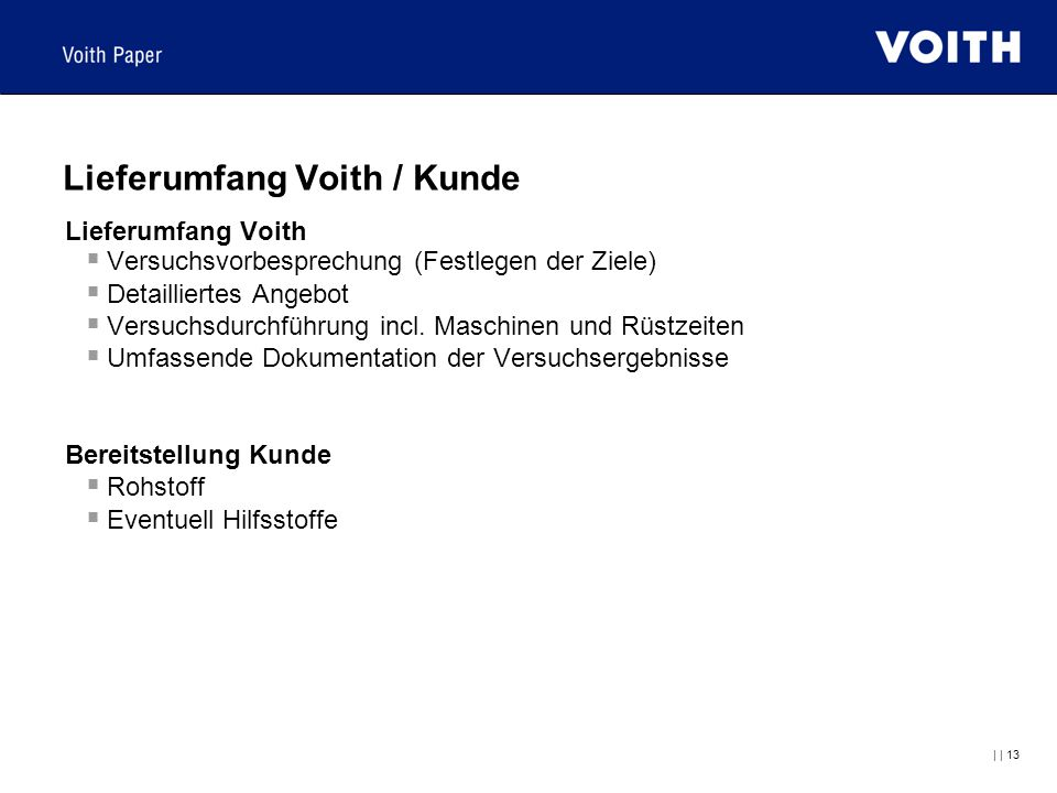 Lieferumfang Voith / Kunde