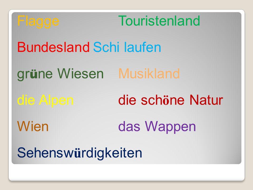 Flagge Touristenland Bundesland Schi laufen grüne Wiesen Musikland die Alpen die schöne Natur Wien das Wappen Sehenswürdigkeiten