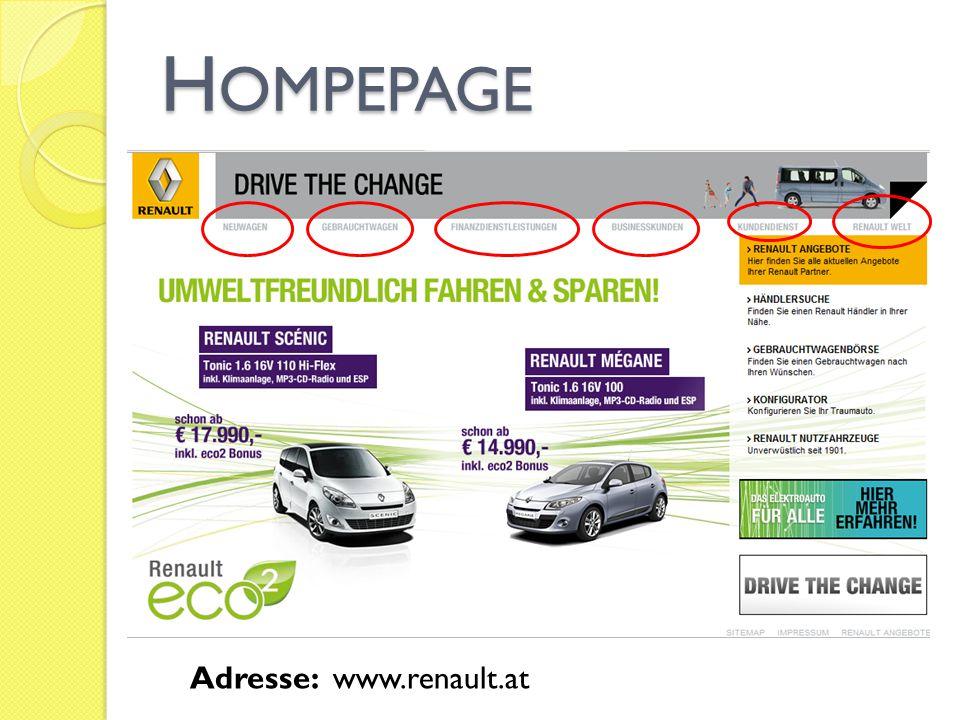 Hompepage Adresse: www.renault.at