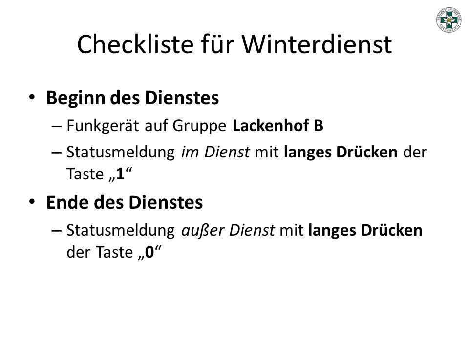Checkliste für Winterdienst