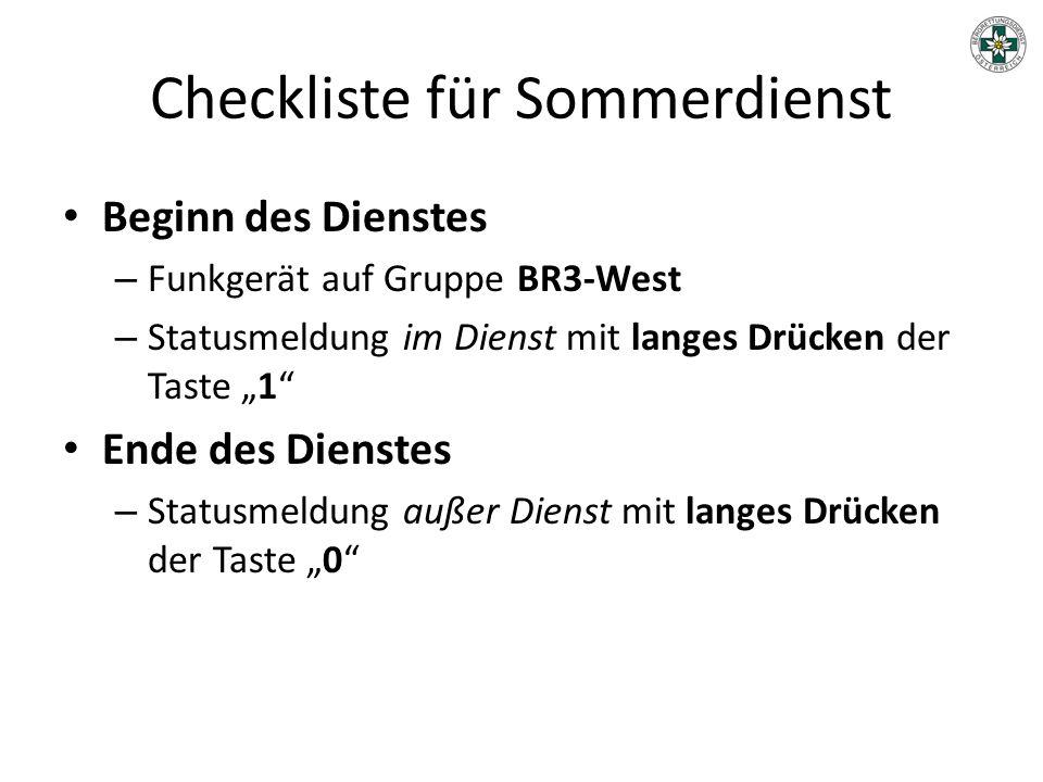 Checkliste für Sommerdienst