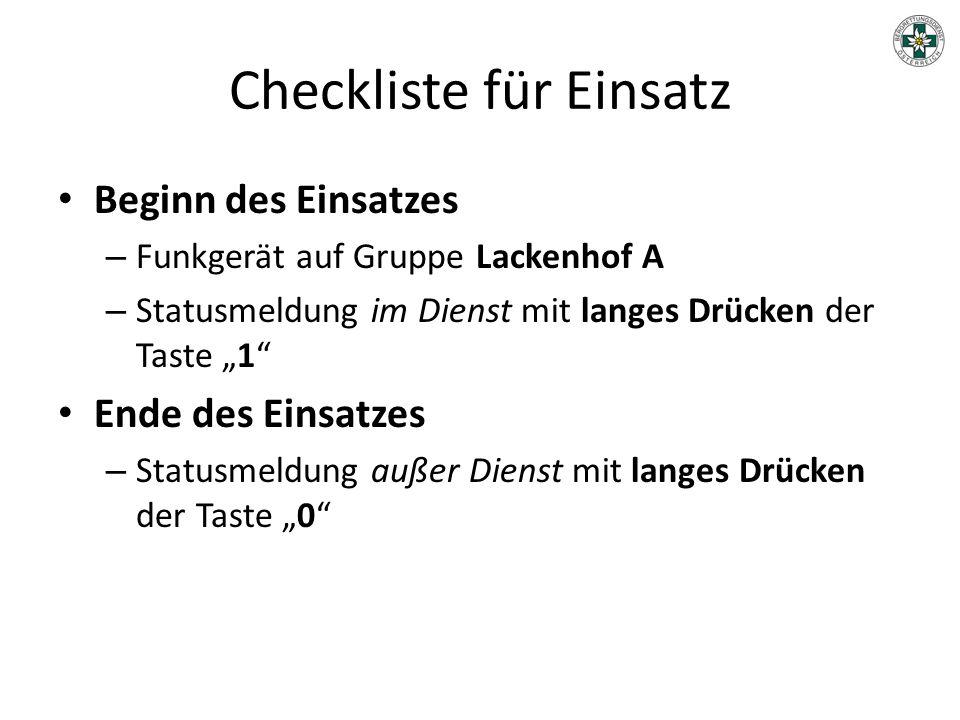 Checkliste für Einsatz