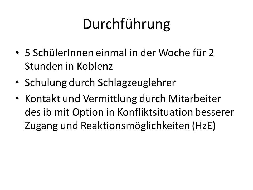 Durchführung 5 SchülerInnen einmal in der Woche für 2 Stunden in Koblenz. Schulung durch Schlagzeuglehrer.