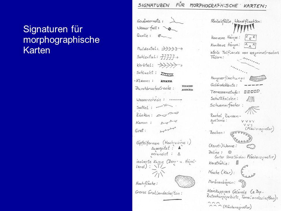 Signaturen für morphographische Karten