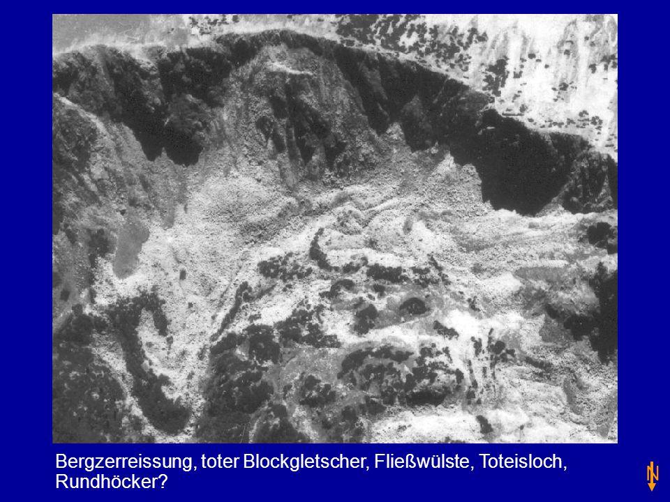 Bergzerreissung, toter Blockgletscher, Fließwülste, Toteisloch, Rundhöcker
