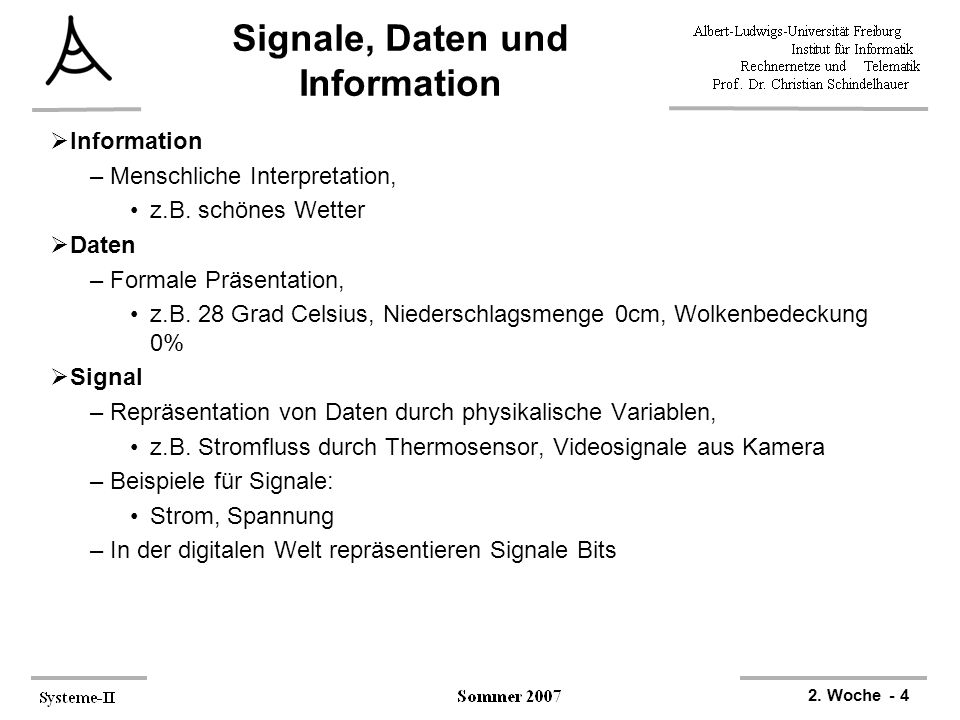 Signale, Daten und Information