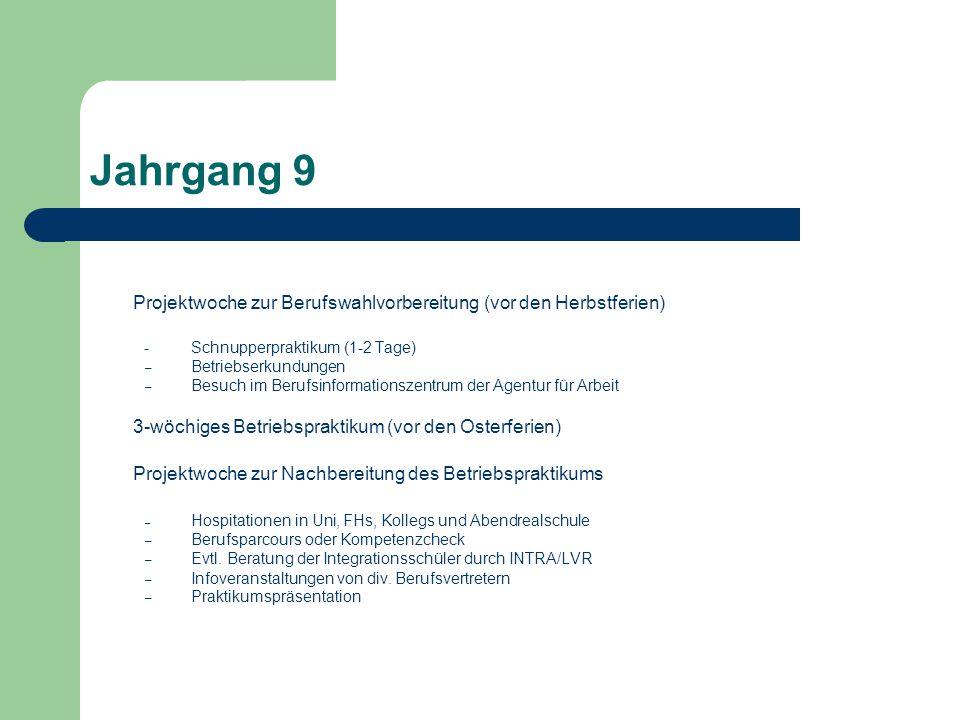Jahrgang 9 Projektwoche zur Berufswahlvorbereitung (vor den Herbstferien) - Schnupperpraktikum (1-2 Tage)