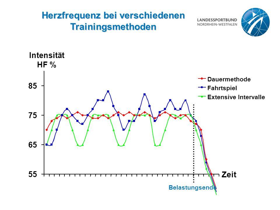 Herzfrequenz bei verschiedenen Trainingsmethoden