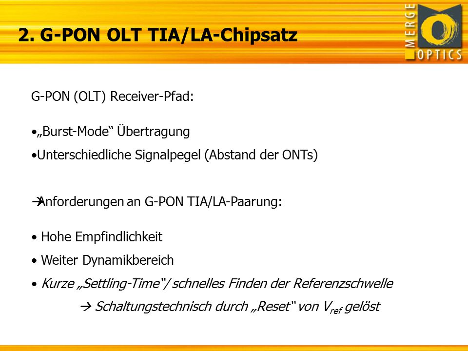 2. G-PON OLT TIA/LA-Chipsatz