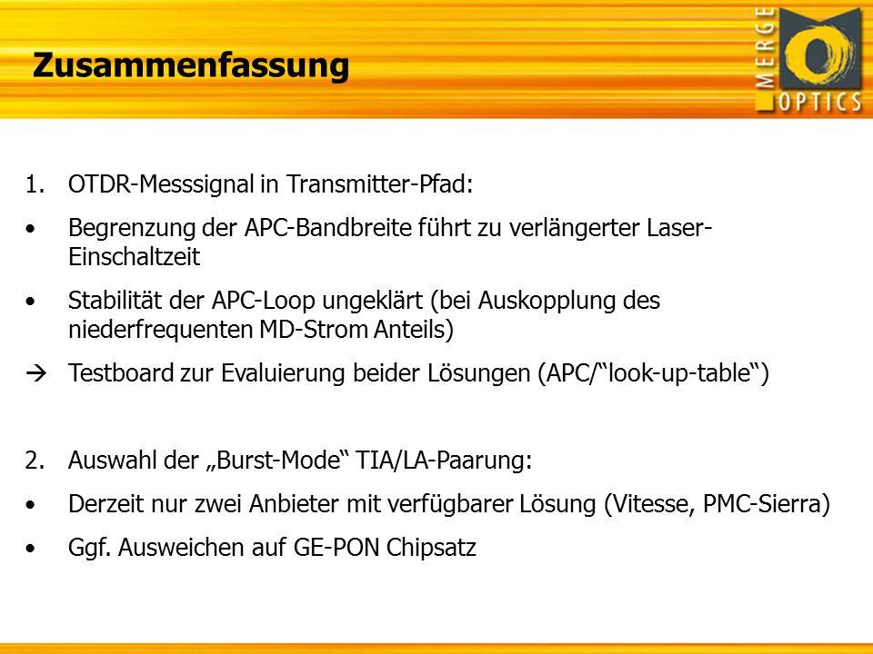 Zusammenfassung OTDR-Messsignal in Transmitter-Pfad: