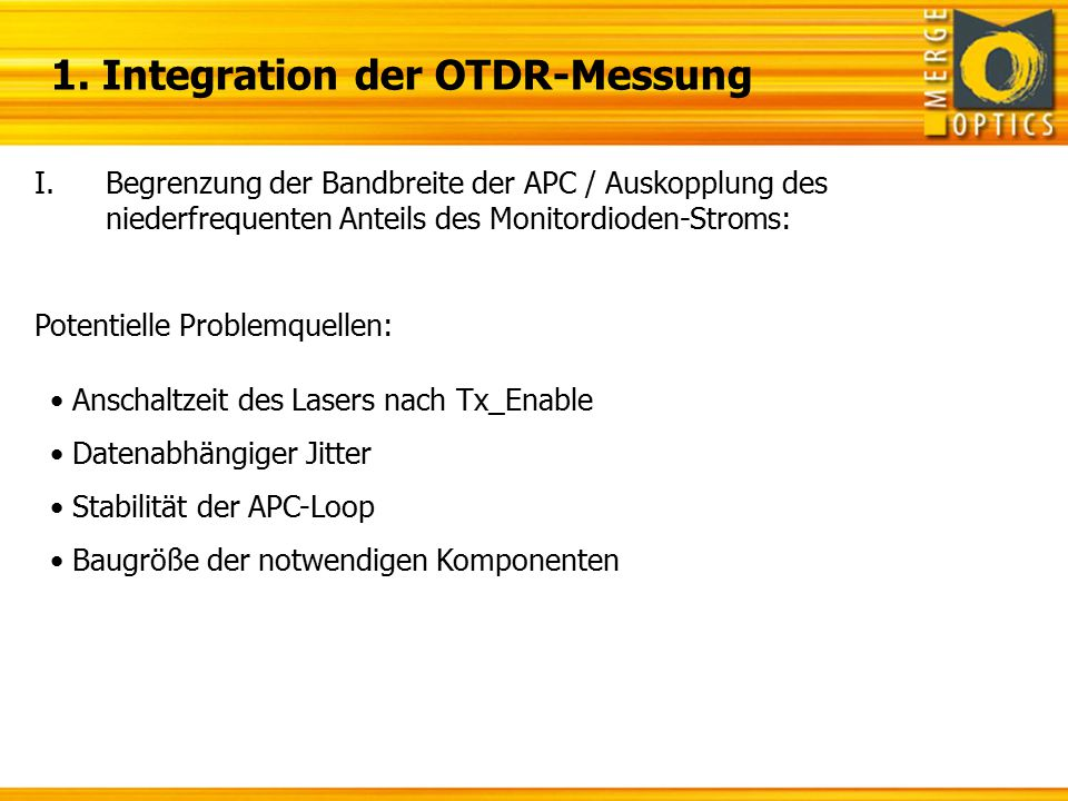 1. Integration der OTDR-Messung