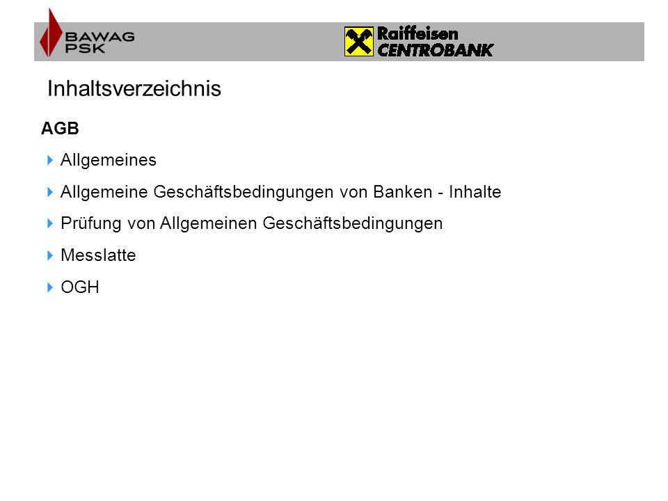 Inhaltsverzeichnis AGB Allgemeines