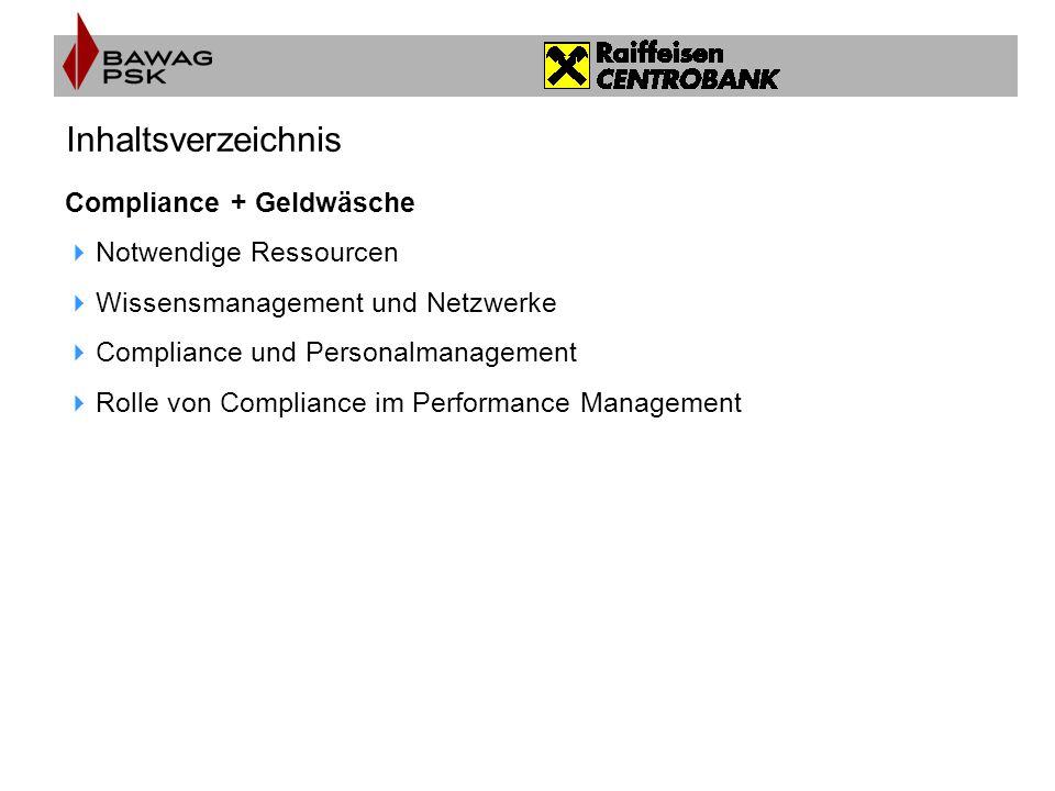 Inhaltsverzeichnis Compliance + Geldwäsche Notwendige Ressourcen