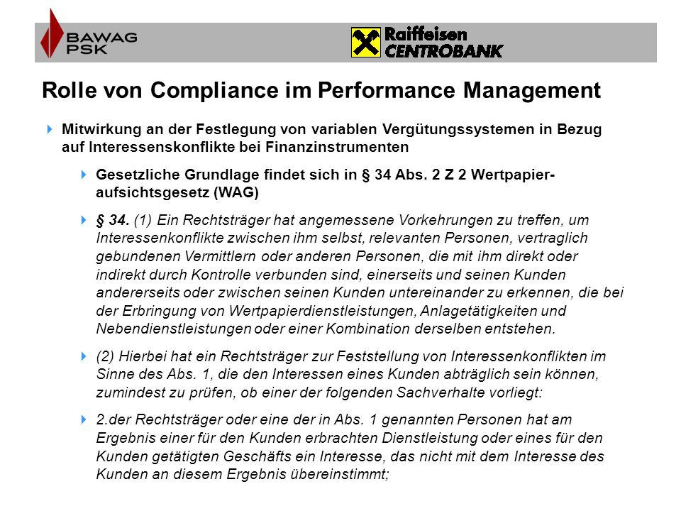 Rolle von Compliance im Performance Management