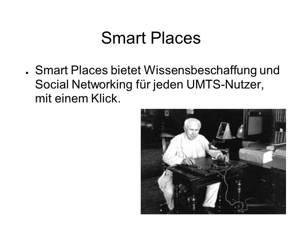 Smart Places Smart Places bietet Wissensbeschaffung und Social Networking für jeden UMTS-Nutzer, mit einem Klick.