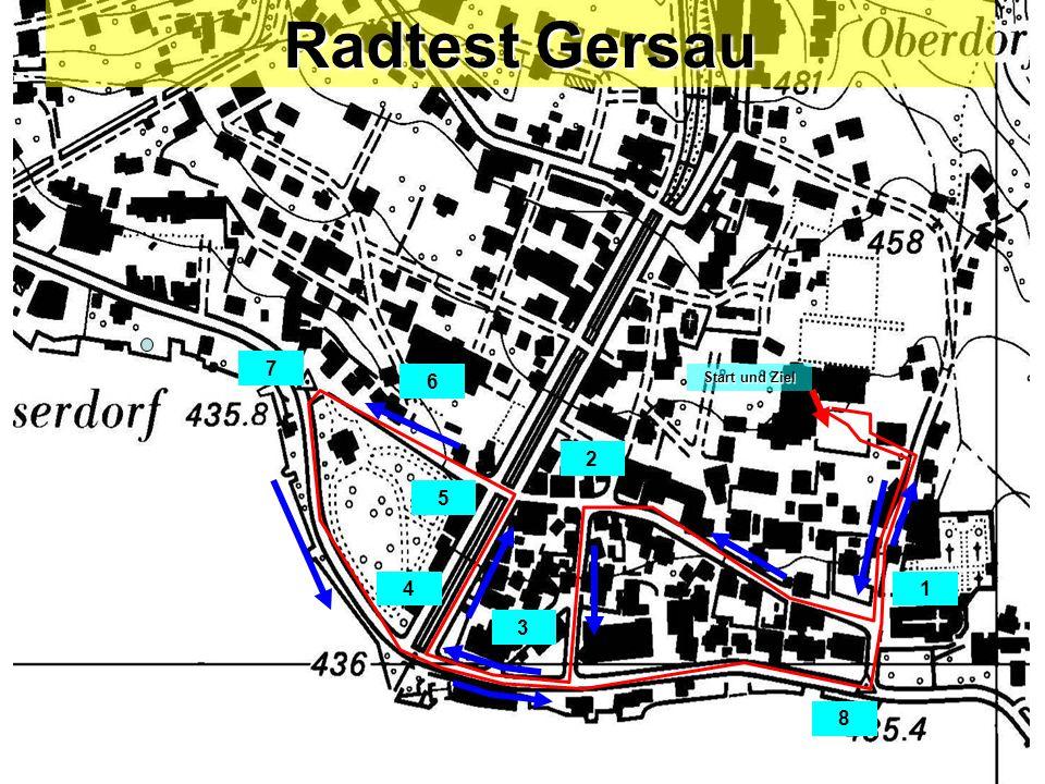 Start und Ziel 1 2 3 4 5 7 6 8 Radtest Gersau