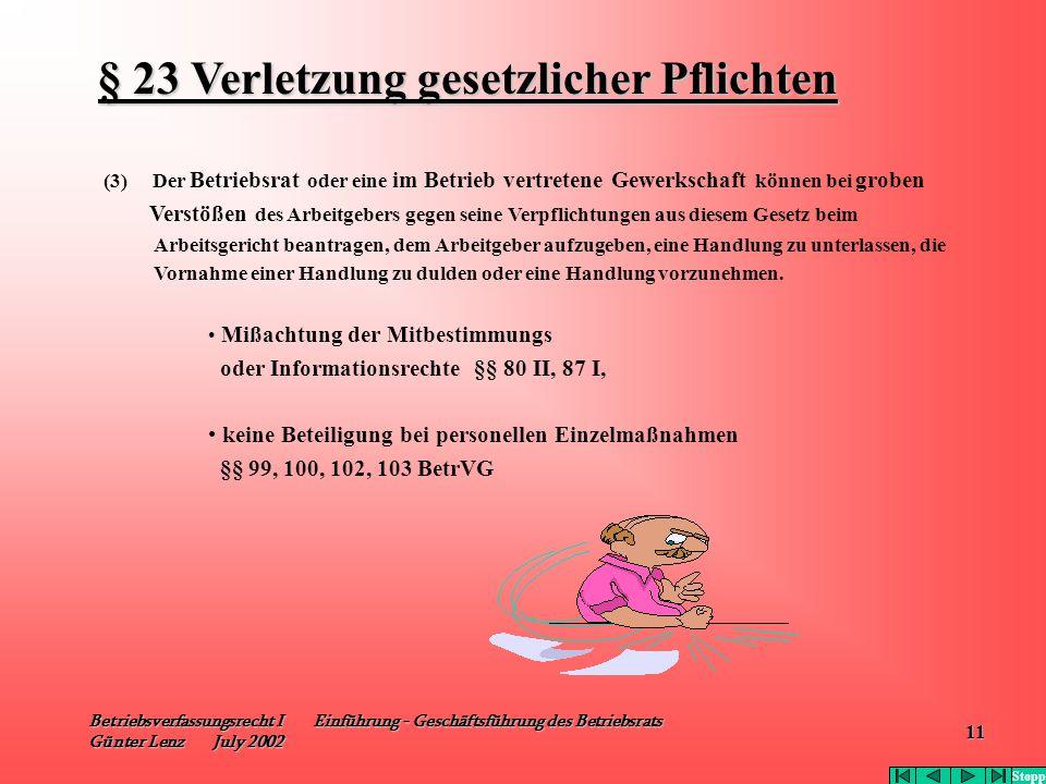 § 23 Verletzung gesetzlicher Pflichten