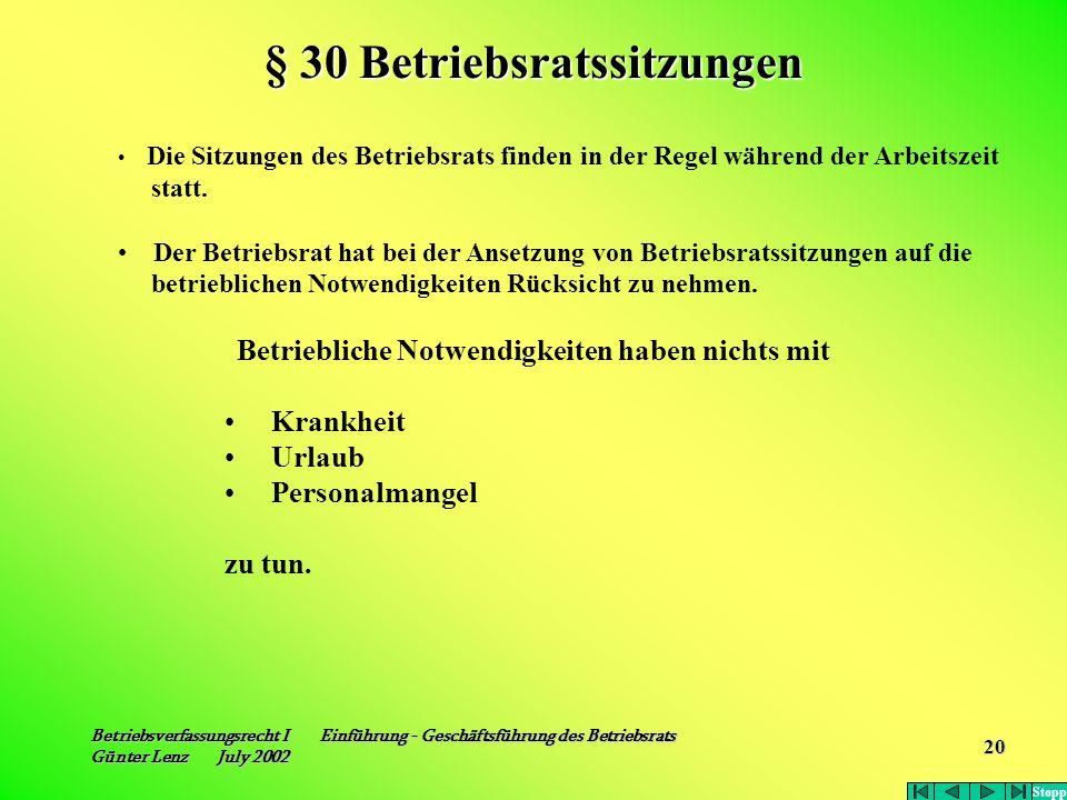 § 30 Betriebsratssitzungen