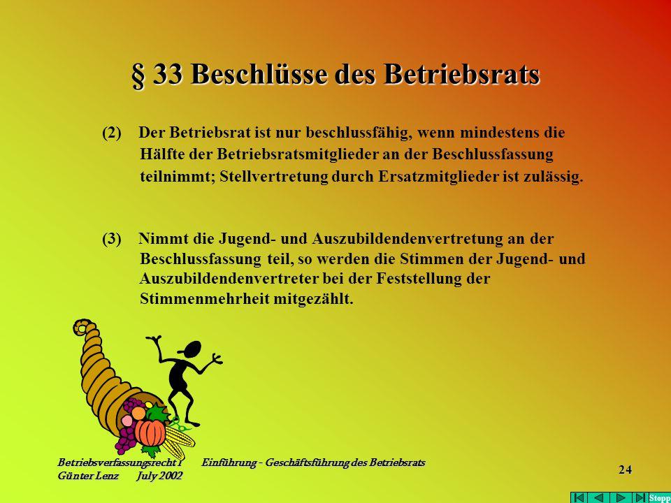 § 33 Beschlüsse des Betriebsrats