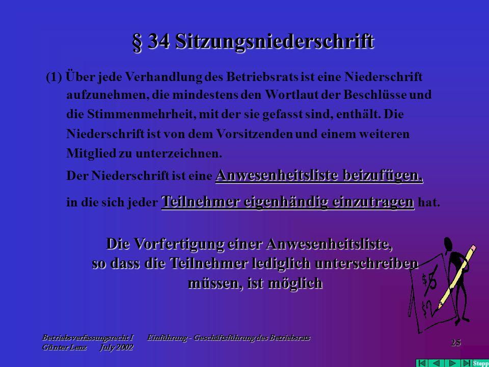 § 34 Sitzungsniederschrift