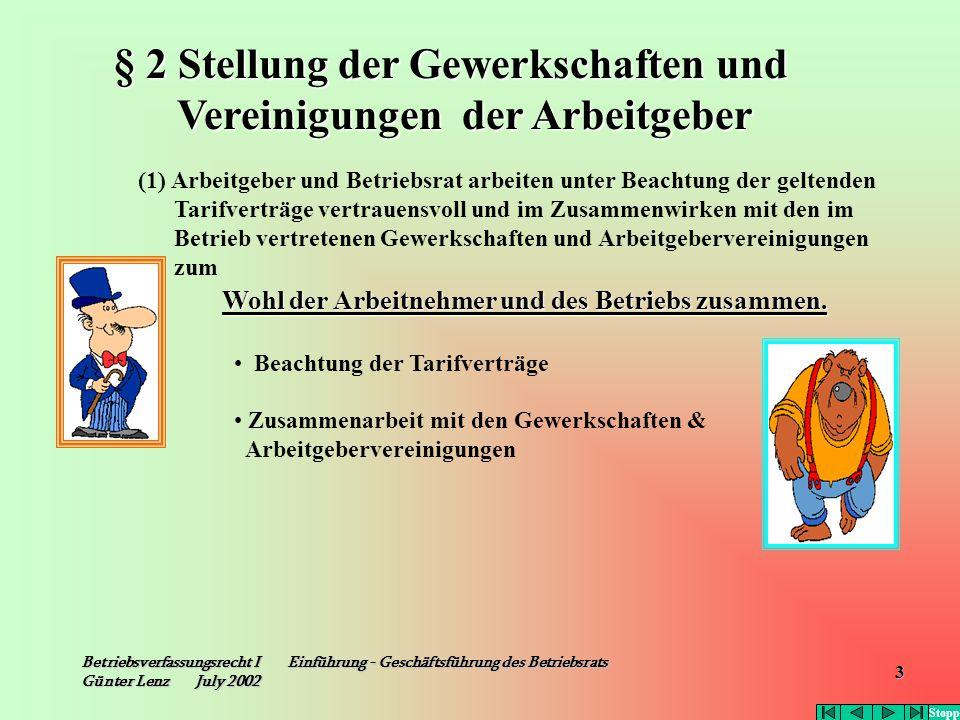 § 2 Stellung der Gewerkschaften und Vereinigungen der Arbeitgeber