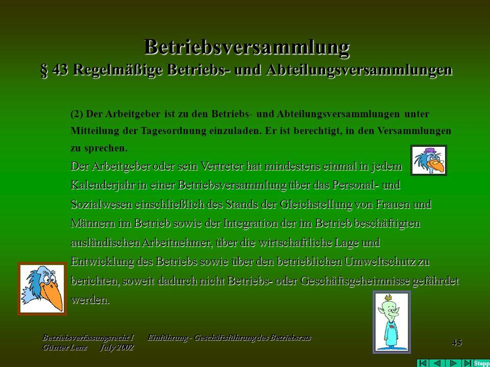 Betriebsversammlung § 43 Regelmäßige Betriebs- und Abteilungsversammlungen