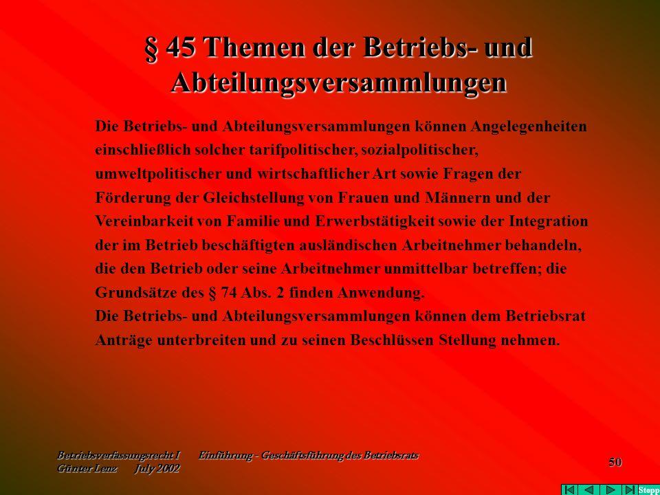 § 45 Themen der Betriebs- und Abteilungsversammlungen