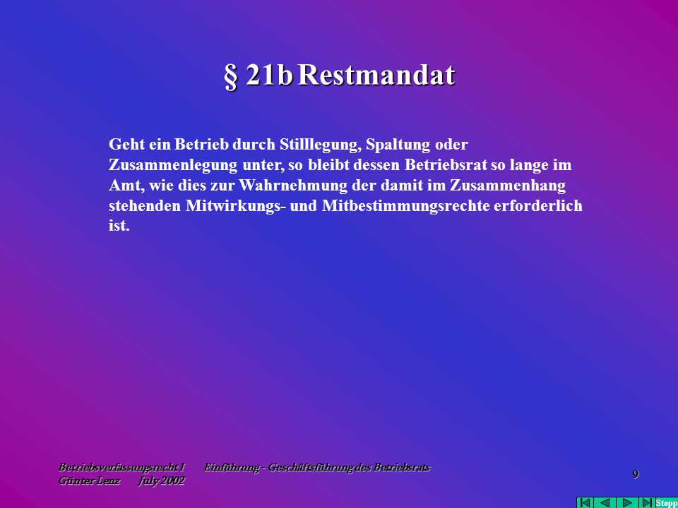 § 21b Restmandat