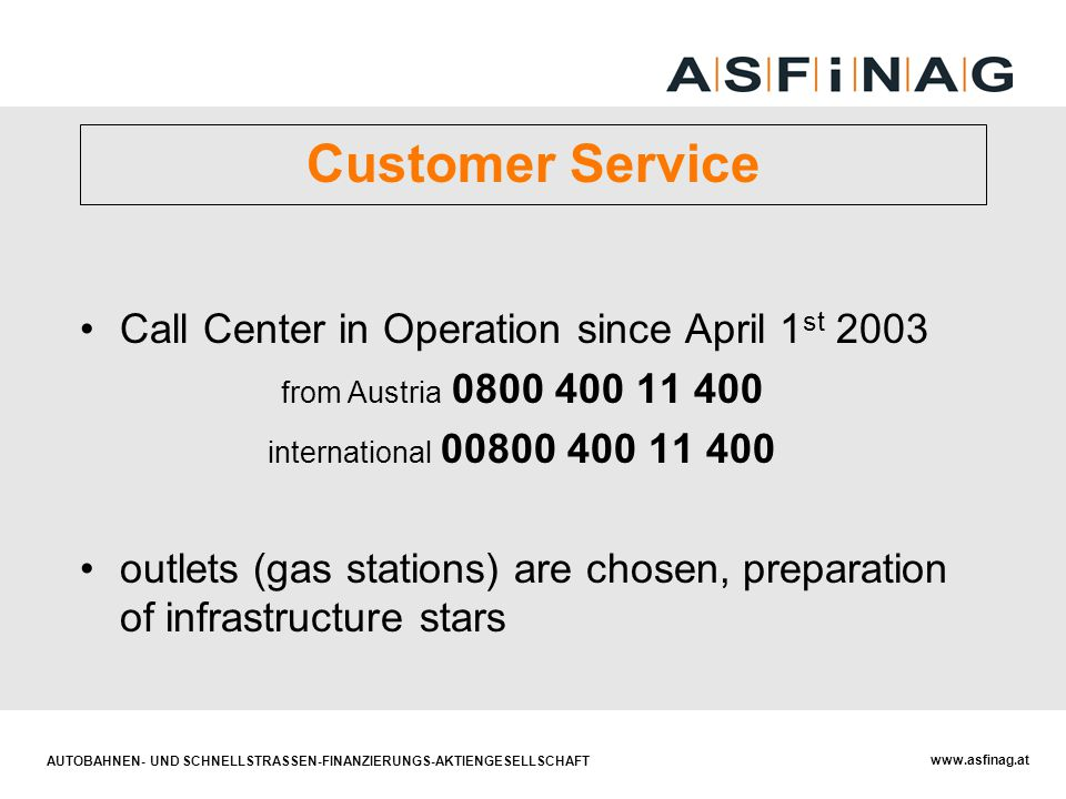 Customer Service Call Center in Operation since April 1st 2003