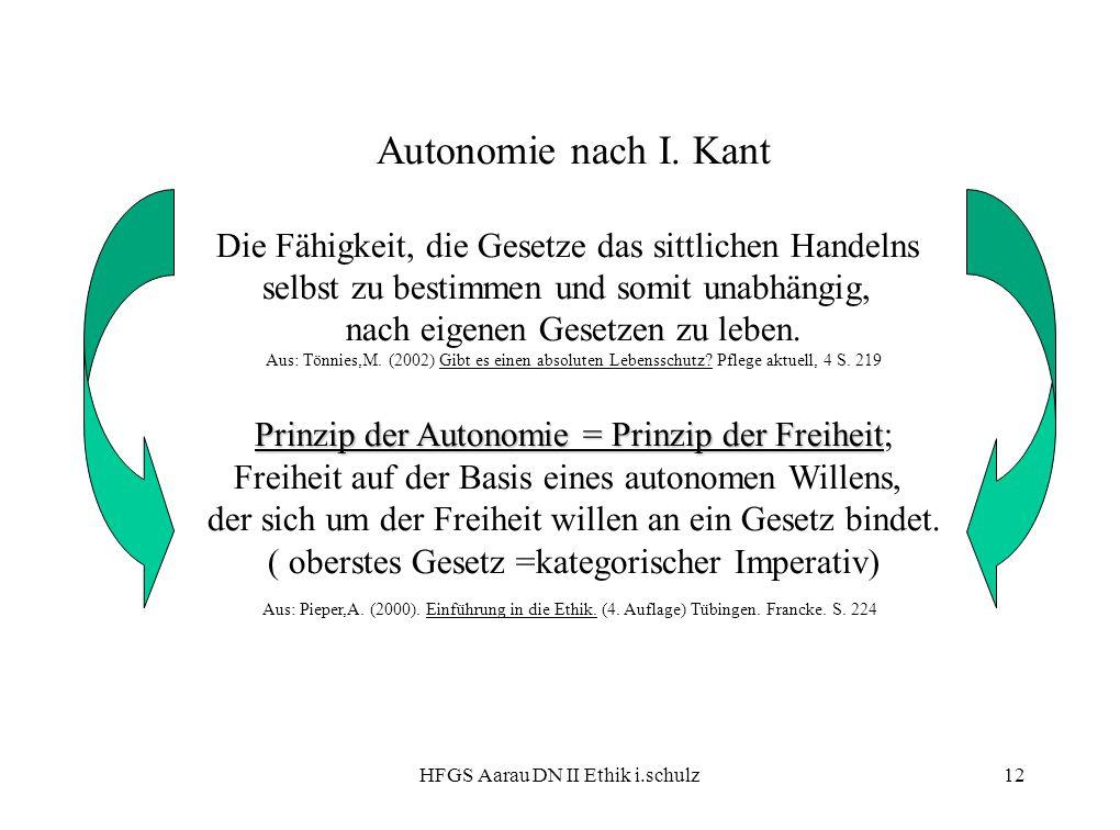 Autonomie nach I. Kant Die Fähigkeit, die Gesetze das sittlichen Handelns. selbst zu bestimmen und somit unabhängig,