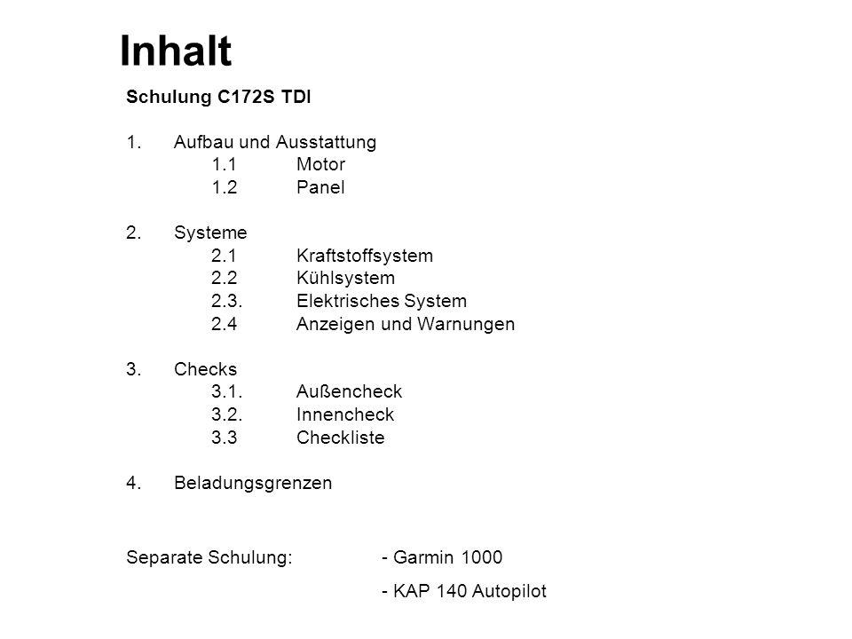 Inhalt Schulung C172S TDI 1. Aufbau und Ausstattung 1.1 Motor