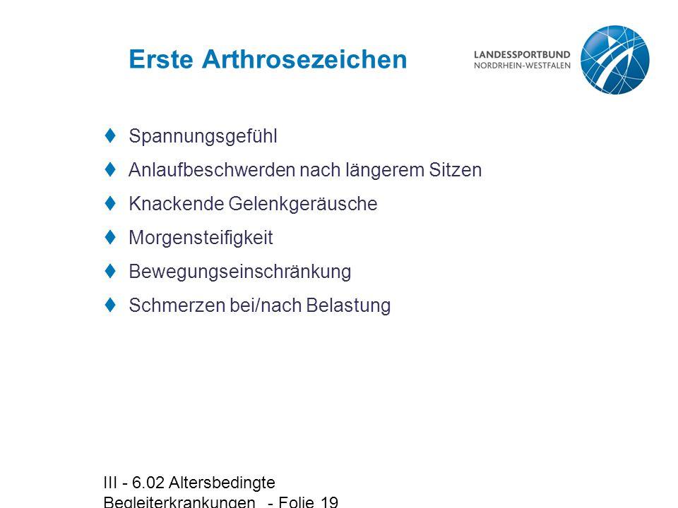 Erste Arthrosezeichen