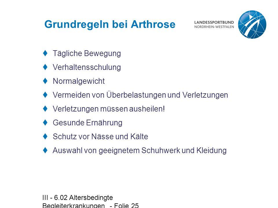 Grundregeln bei Arthrose