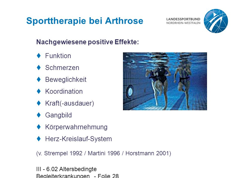 Sporttherapie bei Arthrose