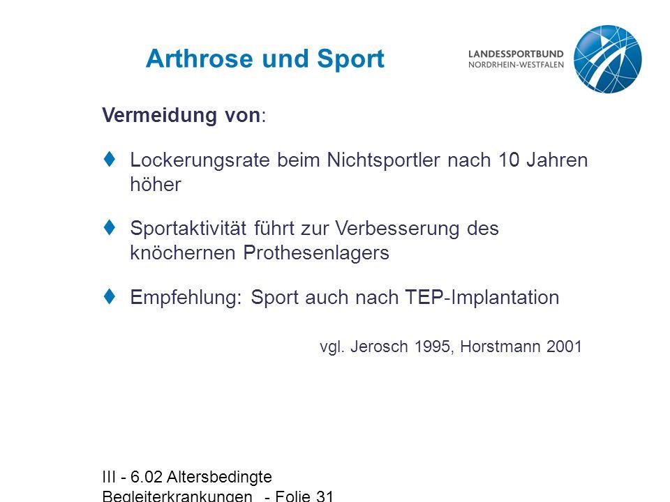 Arthrose und Sport Vermeidung von: