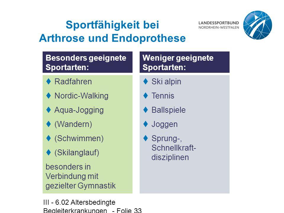 Sportfähigkeit bei Arthrose und Endoprothese